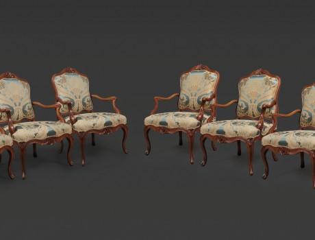 Ensemble exceptionnel de Six Fauteuils à La Reine de Nogaret