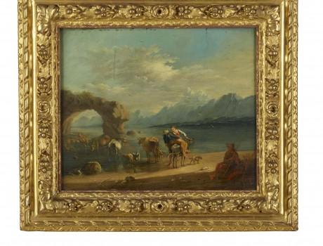 Huile Sur Panneau: Paysage lacustre XVIIIe