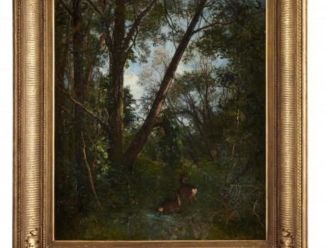 Huile Sur Toile: Chevreuils en sous bois signée A. Laurens
