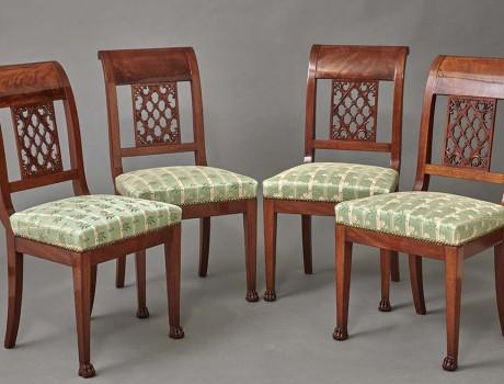 Quatre chaises en acajou Empire