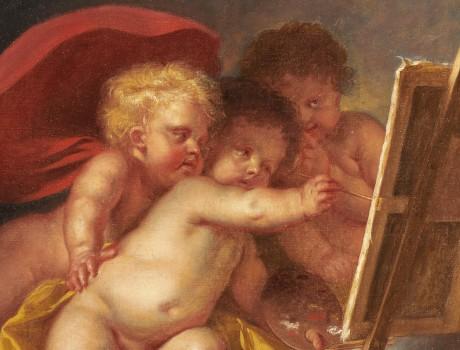 Huile Sur Toile : Allégorie de la Peinture par Charles Eisen, époque XVIIIe