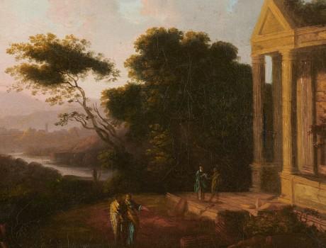 Huile Sur Toile: Ruines à l'Antique XVIIIe